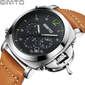 GIMTO Chronograph Casual Watch Men Luxury Brand Quartz Military Sport Watch Genuine Leather Men's Wristwatch relogio masculino
