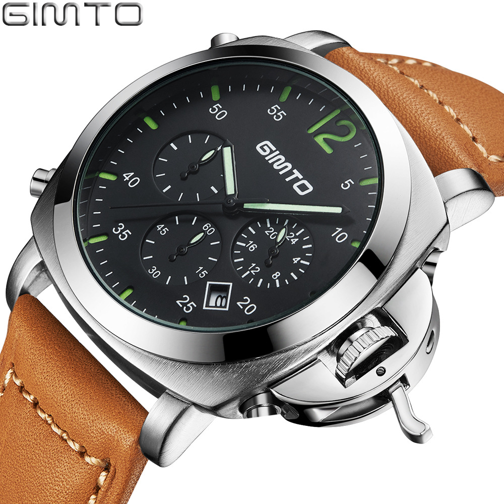 Prix pour Gimto montre hommes marque de luxe quartz montre militaire sport chronographe montres véritable en cuir hommes de montre-bracelet relogio masculino