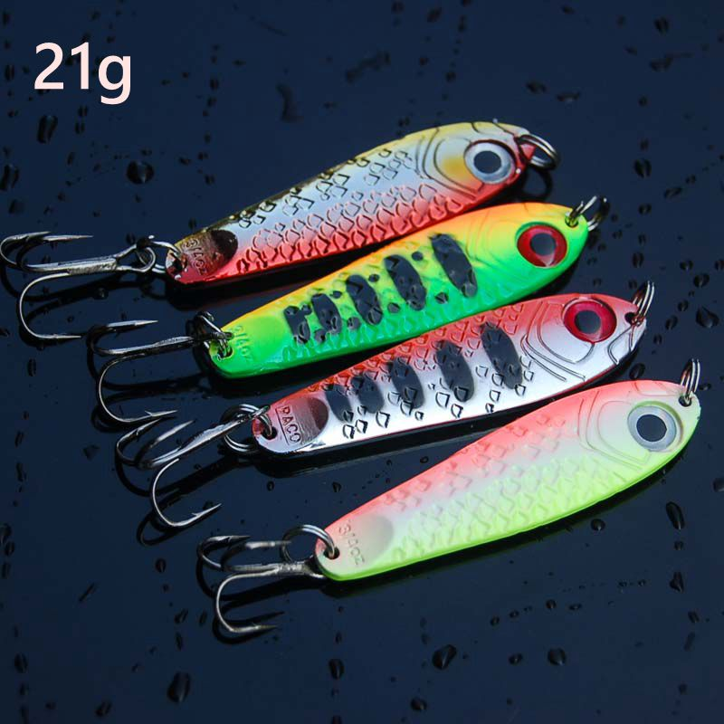 Hot sale 4Pcs High Quality Metal Spoon Fishing Lure Seawater Fishing Bait Jigging Lures Leurre Peche Jig Wobbler 65mm 21g-in Fishing Lures from Sports & Entertainment