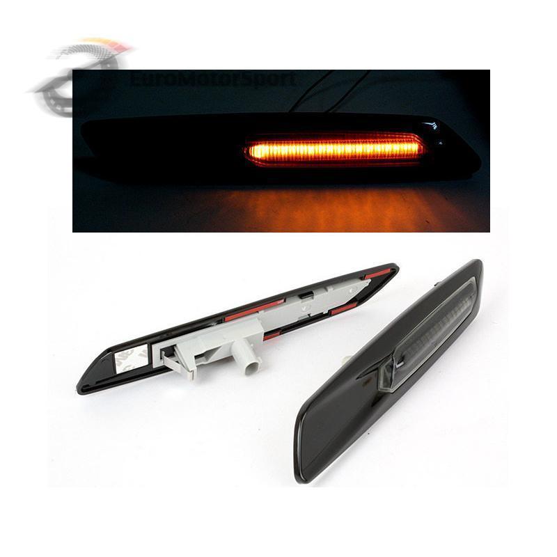 CYAN SOIL BAY Smoke Amber Led Side Marker Light F10 Style Gloss Black For BMW E81 E90 E60