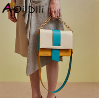 Personality stitching contrast color shoulder bag female 2018 summer niche design new chain portable diagonal small square bag