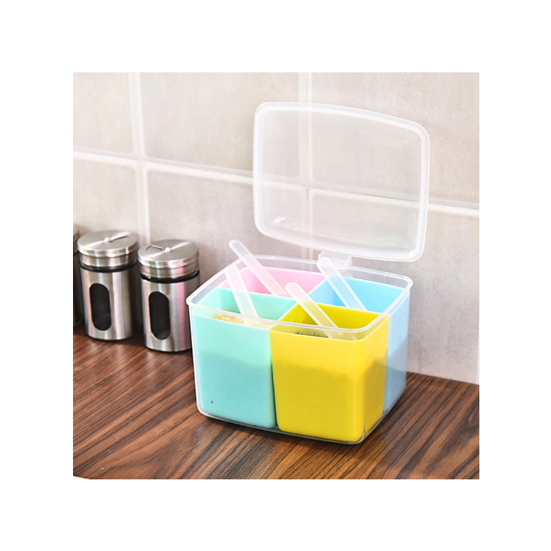 RSCHEF 1Pcs The kitchen supplies plastic seasoning box four round seasoning box can be opened with a small spoon