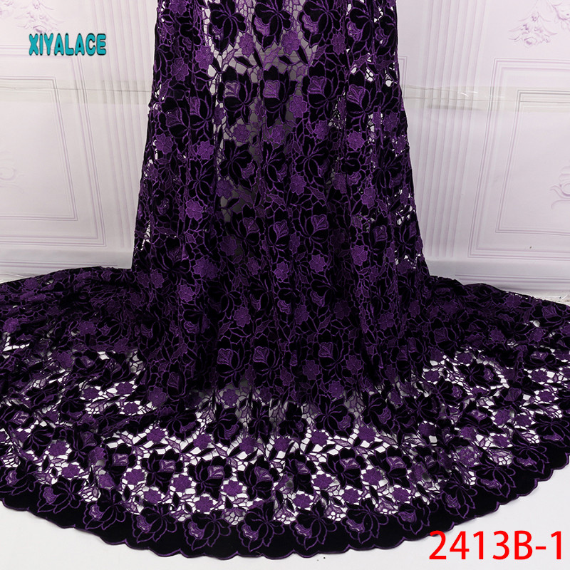 African Lace Fabric 2019 High Quality Nigerian Lace Fabrics  Guipure Cord Fabric Embroidery French Tulle Lace Fabric YA2413B-2