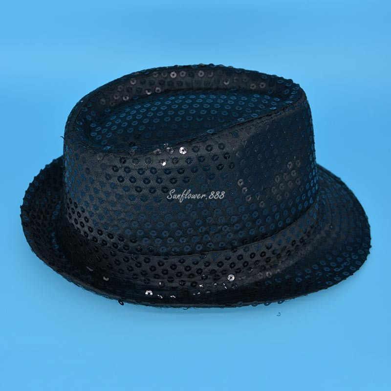 ... Girls Boy Woman Man Sequin Trilby Fedora Hat Cap Jazz Hat Cap Party Hats  Wedding Dress ... 60852b3a782a
