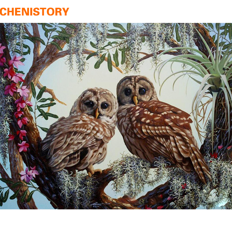 CHENISTORY Frameless Owl Lovers DIY Painting By Numbers Kits Wall Painting Acrylic Paint On