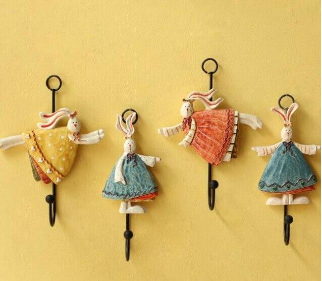 hook pastoral style pink blue orange fat rabbit dancing decorative wall hooks clothing store creative arts wall hook rack hanger - Decorative Picture Hangers