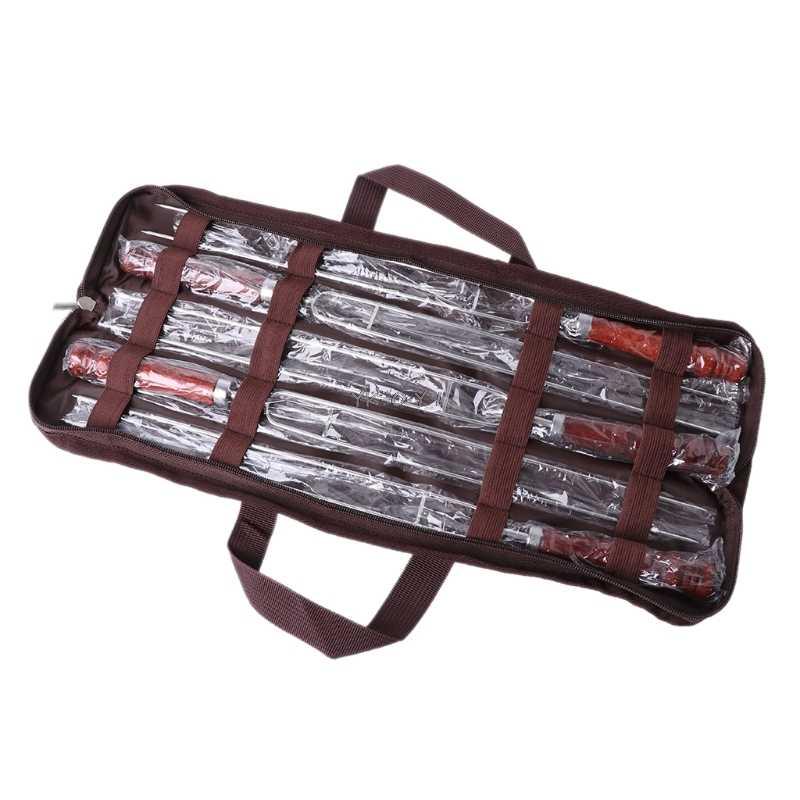 5 pçs assar garfos com saco de acampamento espetos de cachorro quente churrasco garfos ferramenta churrasco