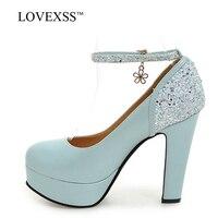 LOVEXSS Womens 12 CM High Heels Shoes Summer Pink Wedding Pumps Spring Platform Blue Beige Black