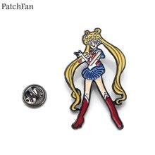 Patchfan Sailor moon luna cat cartoon Zinc tie Funny Pins backpack clothes brooches for men women badges medals A1476