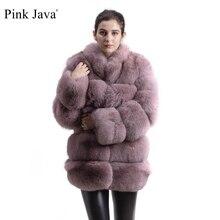ピンクjava QC8142 2018新モデル女性本物のキツネの毛皮のコートフォックス毛皮の襟ロングスリーブコートgebuineキツネ衣装高品質