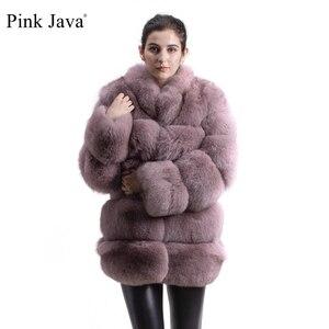Image 1 - ורוד java QC8142 2018 חדש דגם נשים אמיתי שועל פרווה מעיל עם פרוות שועל צווארון ארוך שרוולים מעיל gebuine שועל תלבושת באיכות גבוהה