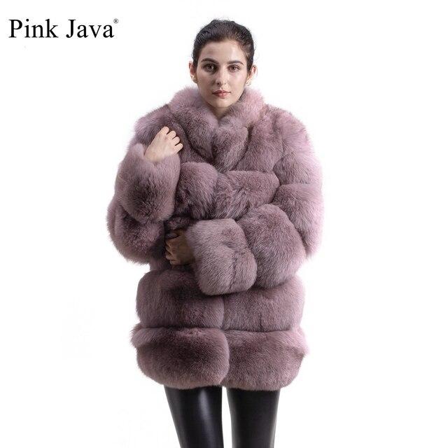 ורוד java QC8142 2018 חדש דגם נשים אמיתי שועל פרווה מעיל עם פרוות שועל צווארון ארוך שרוולים מעיל gebuine שועל תלבושת באיכות גבוהה