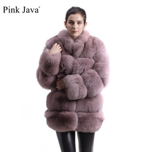 Real-Fox-Fur-Coat Fox-Outfit Women Long-Sleeves Pink Java Gebuine Model with High-Quality