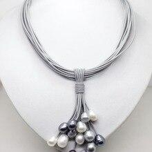 01-12 мм настоящий белый черный серый пресноводный жемчуг подвеска ожерелье кожаный шнур Магнитная Застежка модные ювелирные изделия