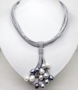Collar con colgante de perlas de agua dulce blancas, negras, grises, reales de 01-12mm, broche magnético de cordón de cuero, joyería de moda