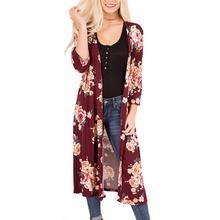 Women Floral Three Quarter Sleeve Cardigan Top Tee 2017 Cute Pretty Summer Fashion Autumn Cardigans Ladies Pretty Freeshiping