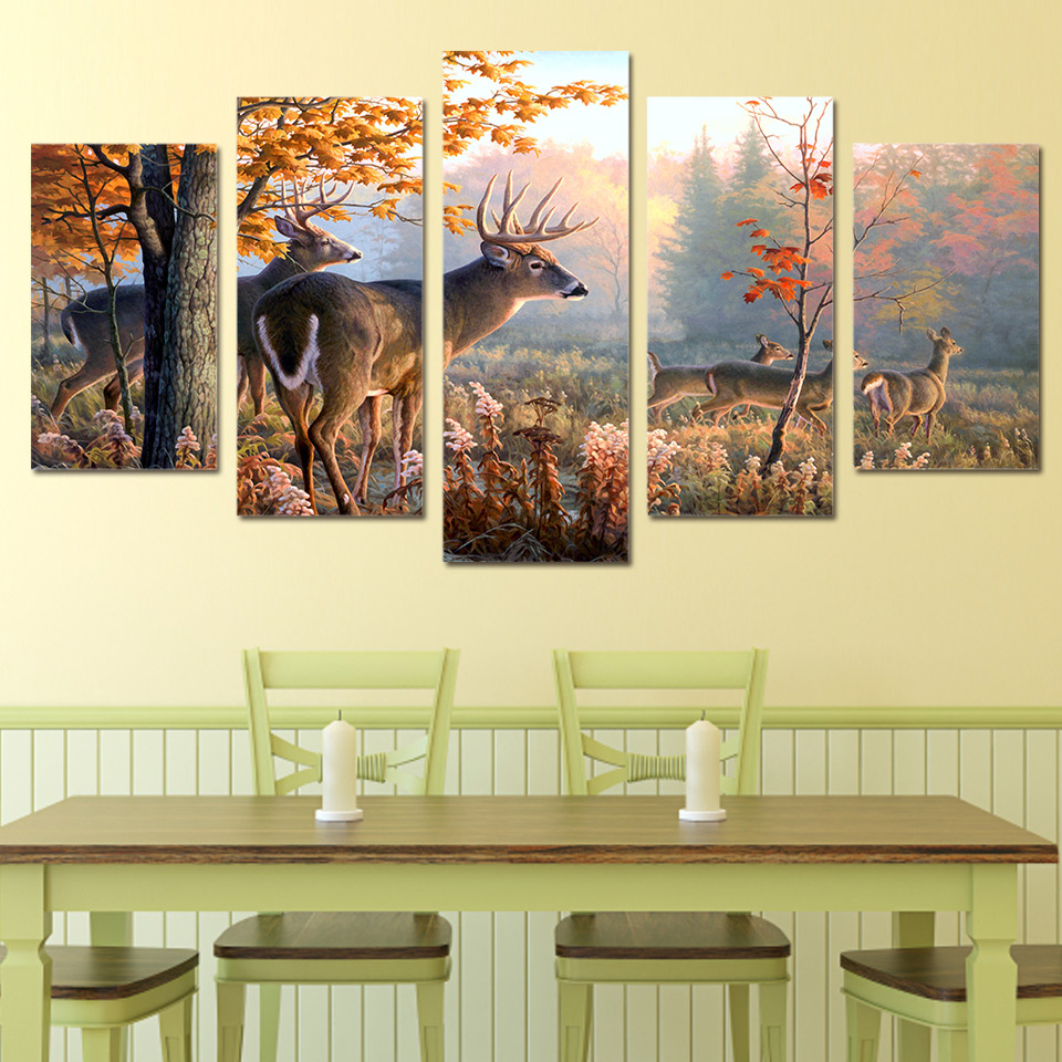 Canvas Paintings Wall Art Home Decor 5 Pieces Deers Forest Pictures ...
