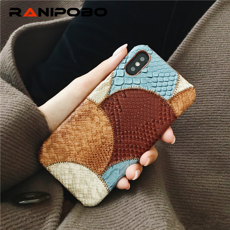 PU Snake Skin Combine Colors Phone Case for iPhone 6 6S Plus 7 8 Plus Cover For iPhone X Case