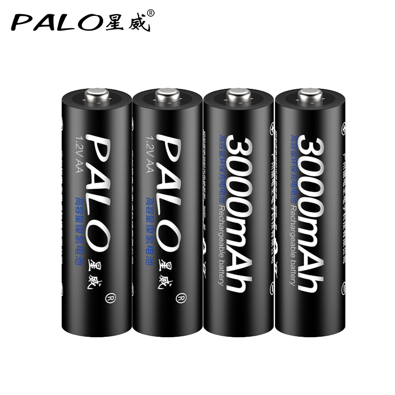 PALO 4PCS High Capacity 2500mAh <font><b>1.2V</b></font> 3000MAH <font><b>AA</b></font> Free Shipping NI-MH Pre-charged <font><b>Rechargeable</b></font> <font><b>AA</b></font> <font><b>1300MAH</b></font> <font><b>battery</b></font> 2A Baterias image