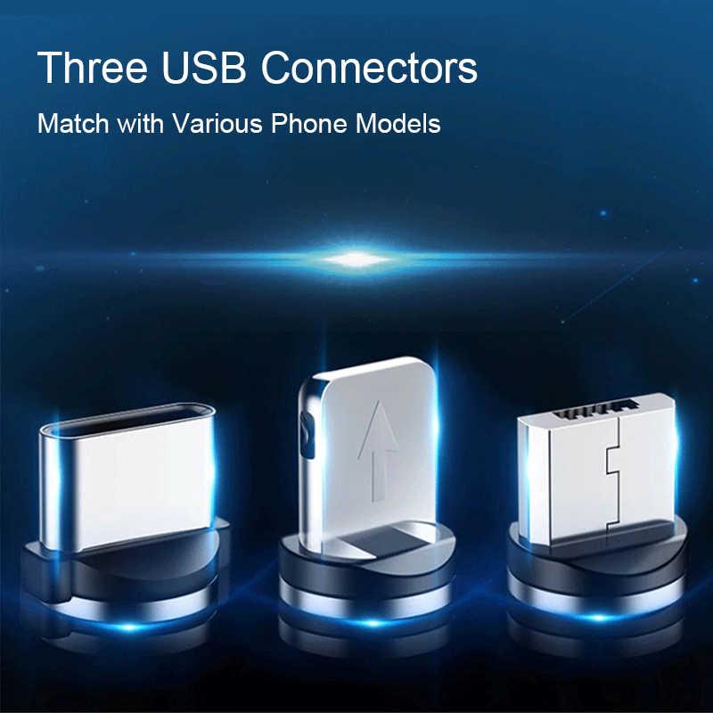 ניילון קלוע LED מחוון נתונים סנכרון מגנט מטען כבל 1M מגנטי כבל USB סוג C כבל & מיקרו USB כבל עבור iphone
