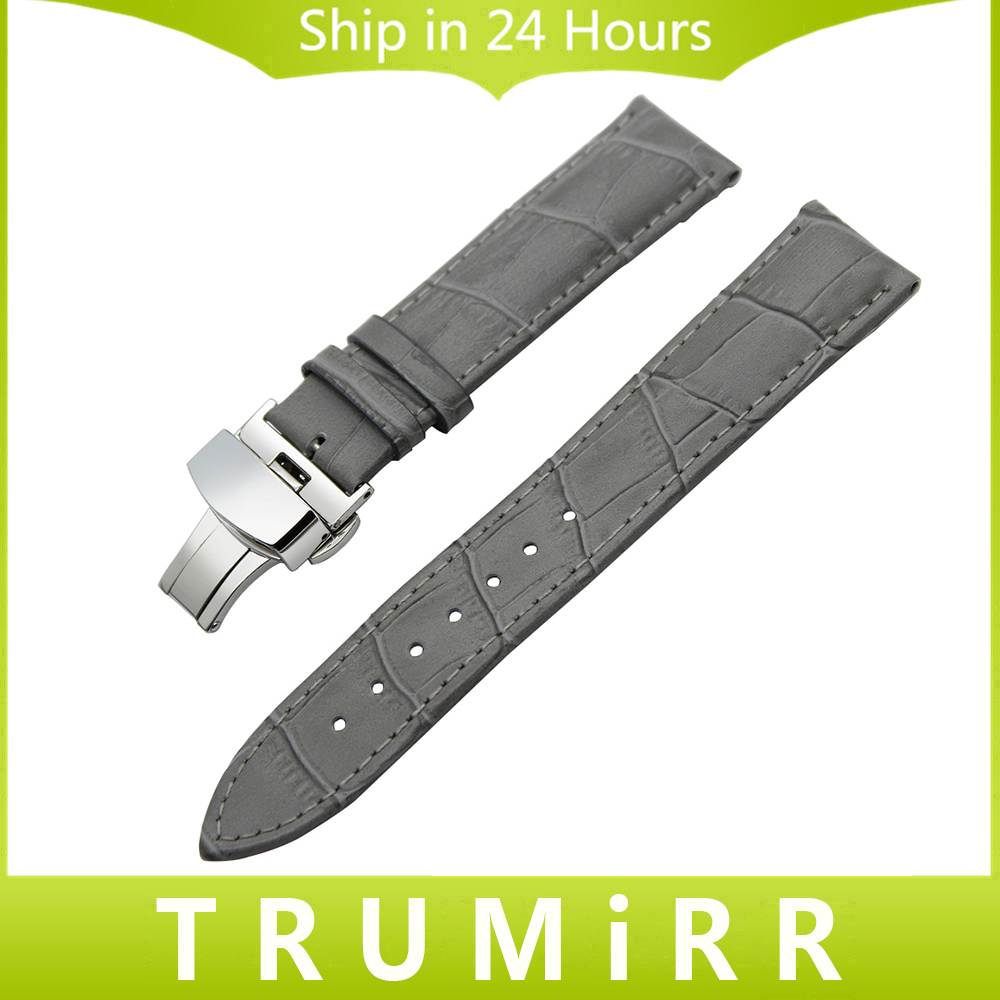 Genuine Leather Watchband Butterfly Buckle Strap for IWC Men Women Watch Band Wrist Belt Bracelet Grey Black 19mm 20mm 21mm 22mm 18mm 20mm 22mm quick release watch band butterfly buckle strap for tissot t035 prc 200 t055 t097 genuine leather wrist bracelet