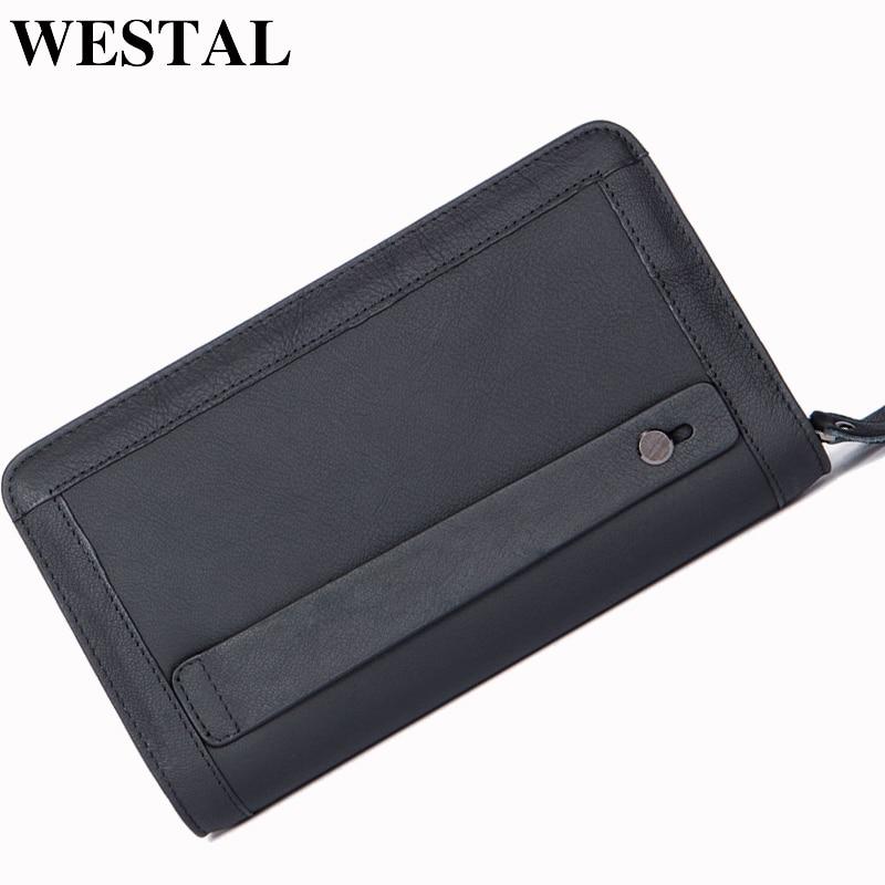 WESTAL Men Wallets Genuine Leather Wallets Money Clip Wallet with coin pocket Phone Double Zipper Passport Wallet Men Clutch Bag