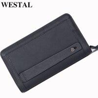 WESTAL Men's Clutch Bag iphone Wallet Purse Man Wallet Leather With Coin Pocket Double Zipper Passport Cover Wallet Money Bag