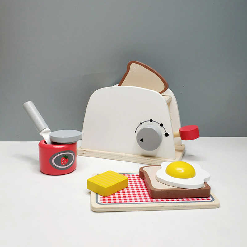 House toy wooden bread machine breakfast combination afternoon tea early education simulation toy children chef toy