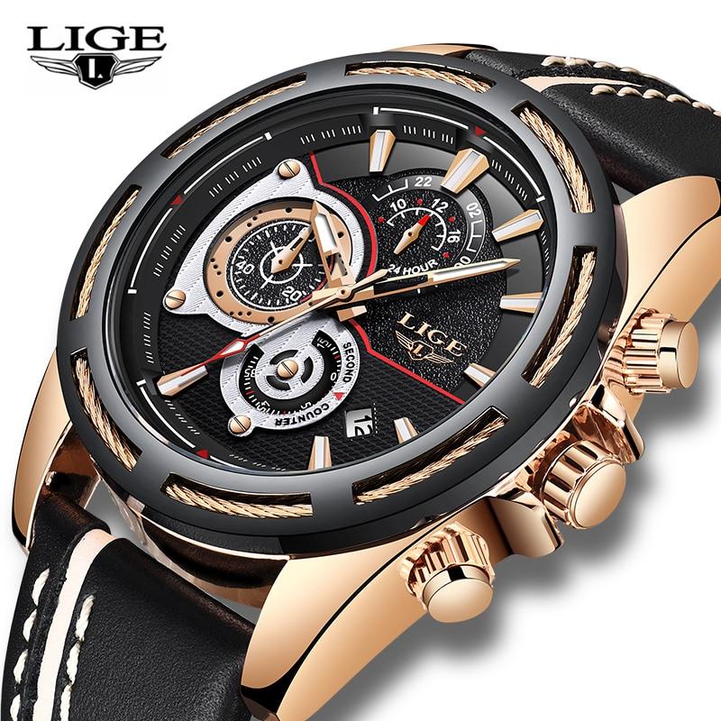 LIGE Luxury Men Watches Quartz Leather Military watch Waterproof Calendar Wrist Watch Man Auto date Wristwatch Relogio Masculino