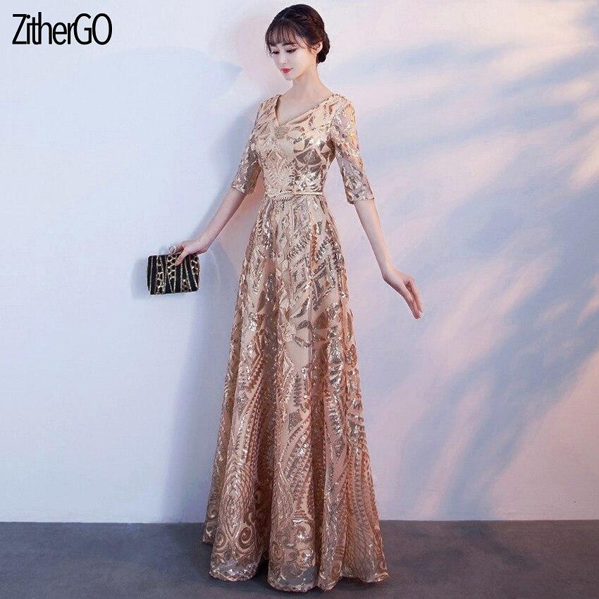 ZitherGo mode paillettes en métal doré occasions formelles robe 2 styles femmes sexy col en v longue robe élégante demi manches une ligne Dr