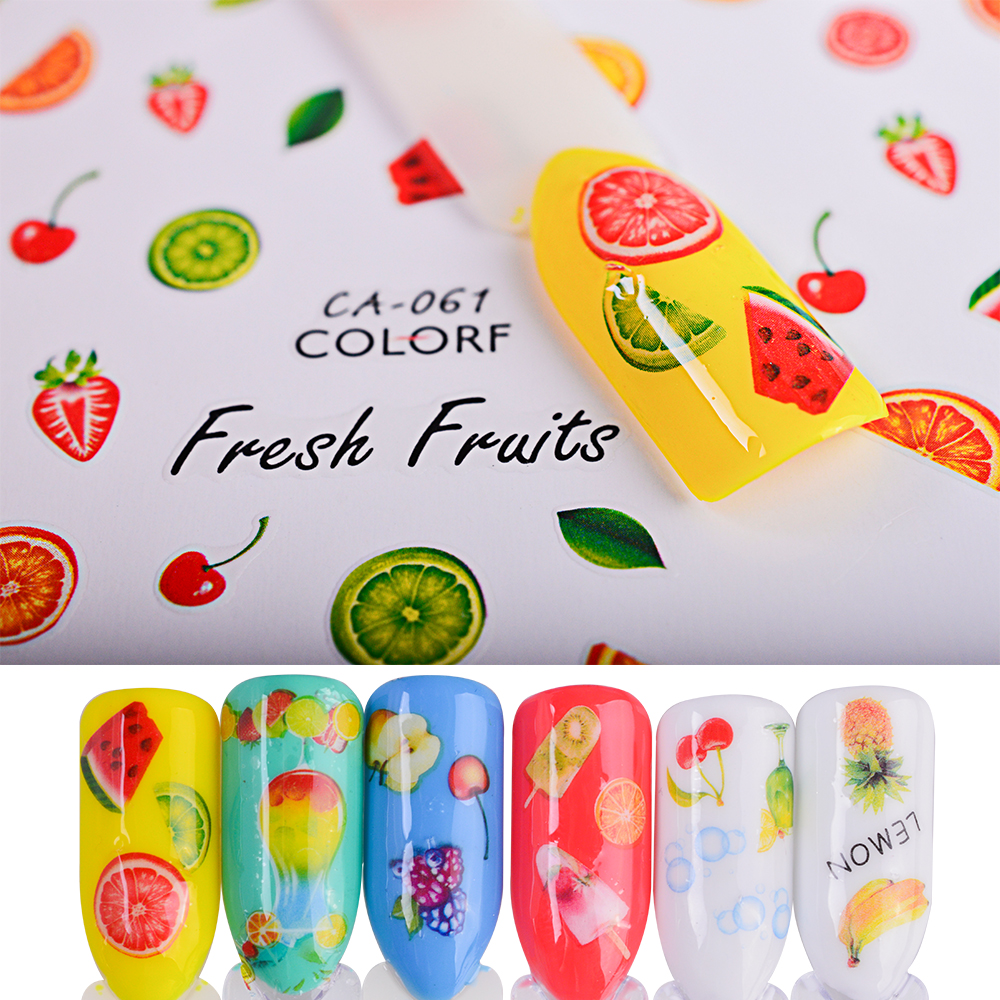 1pcs Nail Art Stickers 3d Decals Decoration Cute Watermelon Fruit Cake Adhesive Colorful Tip DIY Label Manicure SACA060-074 beauty girl 2017 wholesale excellent 48bottles 3d decal stickers nail art tip diy decoration stamping manicure nail gliter