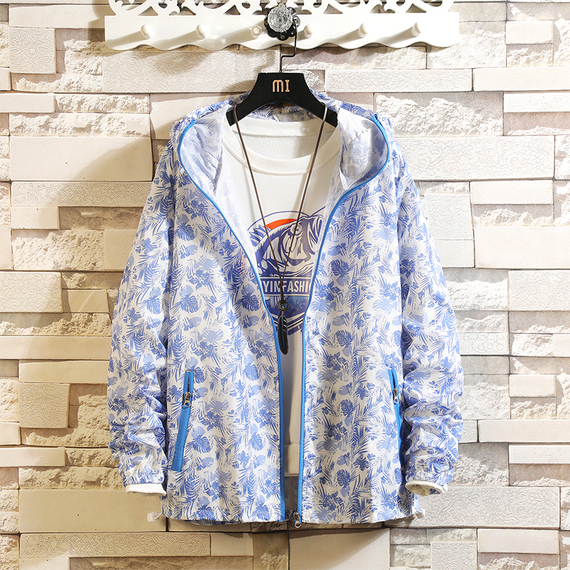 Sun Protection UV Men's Jacket Casual Thin Section Breathable Hip Hop Couple Coats Printed Beachwear Large plus Size S-3XL