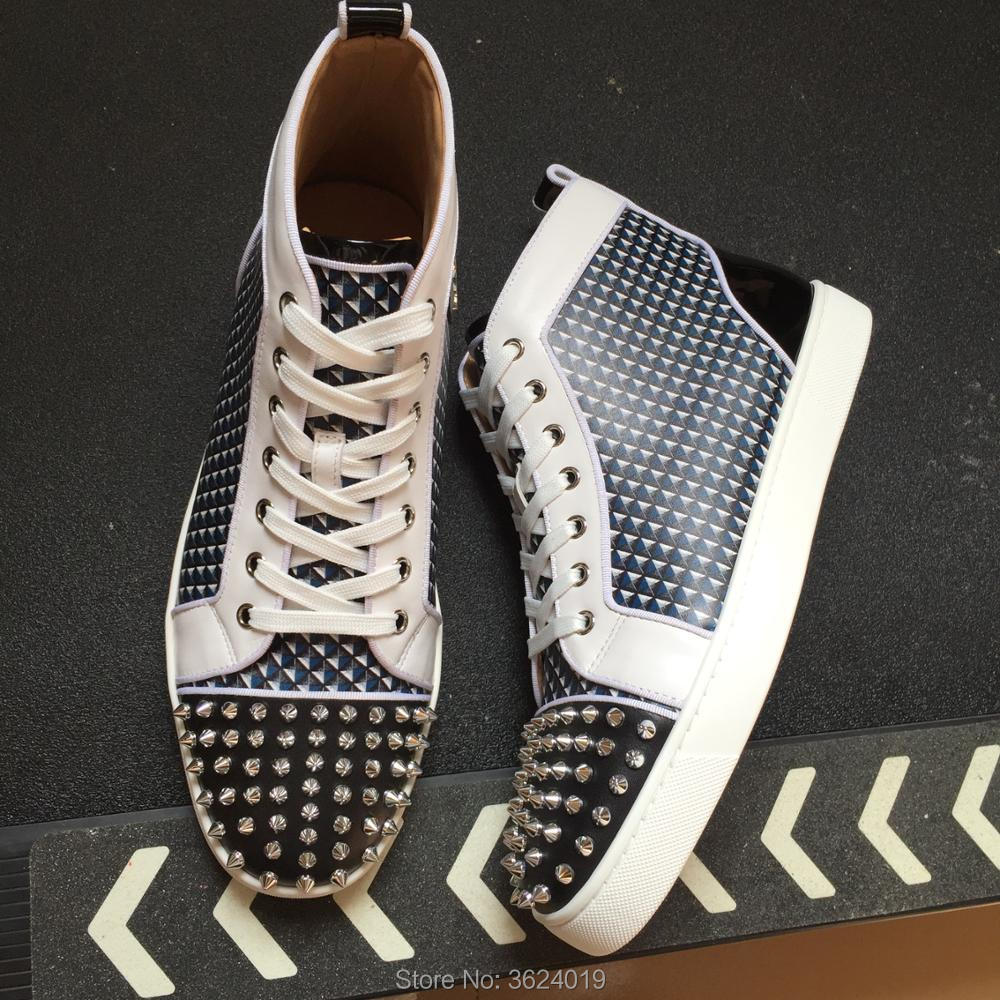 7451f72e72e2 clandgz high heel shoes White Chidori lattice Lace up Rivets Fashion Party  Red bottom Sneakers leather casual shoes 2018 Male-in Men s Casual Shoes  from ...