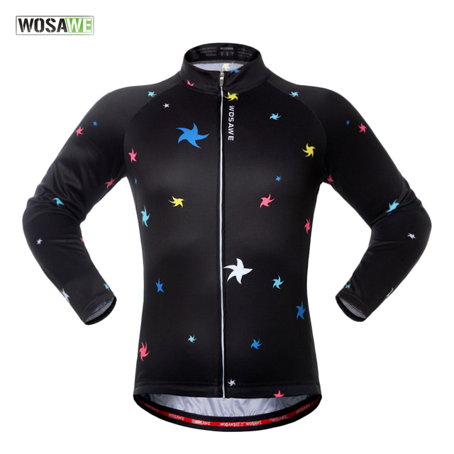 WOSAWE Spring Autumn Unisex Long Sleeve Cycling Jersey Quick Dry Windproof Cycling Top Jersey For Men And Women