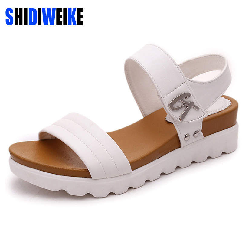 Thick soled sandals female summer 2018 new students a slip with flat sandals all-match muffin leisure Korean tide women sandals ботинки shoiberg shoiberg sh003amwke27