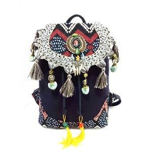 Рюкзак для женщин в богемном стиле хиппи бохо винтажная Женская Холщовая Сумка на плечо с кисточками хлопковая тканевая сумка этнические сумки ранец