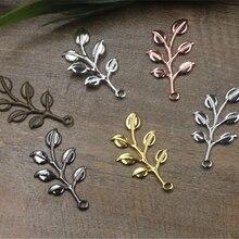 20 шт 19*37 мм позолоченные/посеребренные подвески в виде ветвей листьев DIY модное ожерелье браслет головной убор фурнитура ювелирных шармов