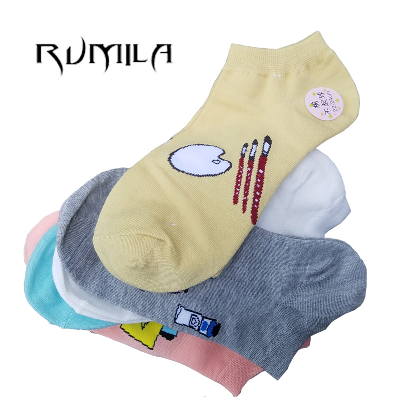 CAT Warm Comfortable Cotton Bamboo Fiber Girl Women's Socks Ankle Low Female Invisible  Color Girl Boy Hosier 1pair=2pcs WS76