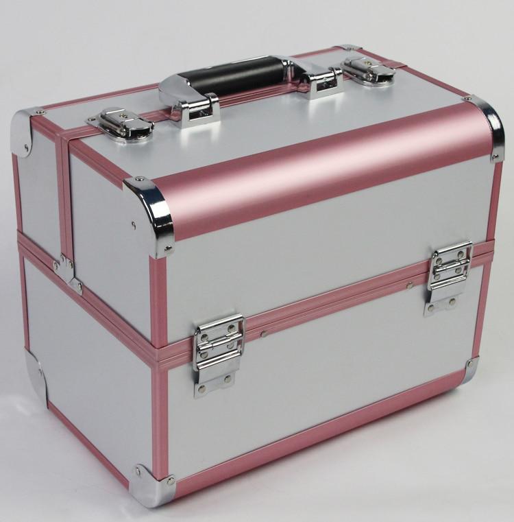 Couleur blanche et rose grande taille 3 couche étui cosmétique professionnel, bijoux et maquillage boîte de rangement pour cadeau de mariage et d'anniversaire