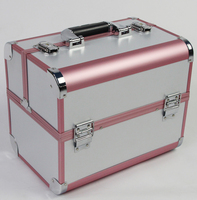 White and Pink Color Large Size 3 layer Professional Cosmetic Case, Jewelry and Makeup Storage Box for Wedding and Birthday Gift