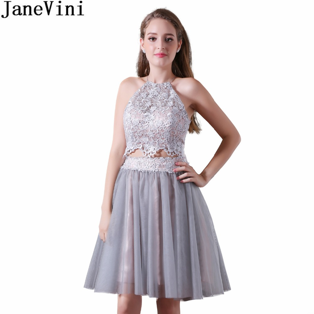 JaneVini Sexy Short Grey   Bridesmaid     Dresses   Lace Top Tulle Skirt 2 Pieces Backless Girls Wedding Party Maid Of Honor Gowns 2018