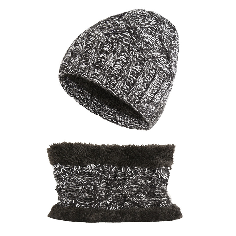 New 2Pcs/set Plus Velvet Baby Hats Scarf Set For Boys Girls Warm Cap Winter Children's Knitted Beanies Hat Soft Neck Scarves