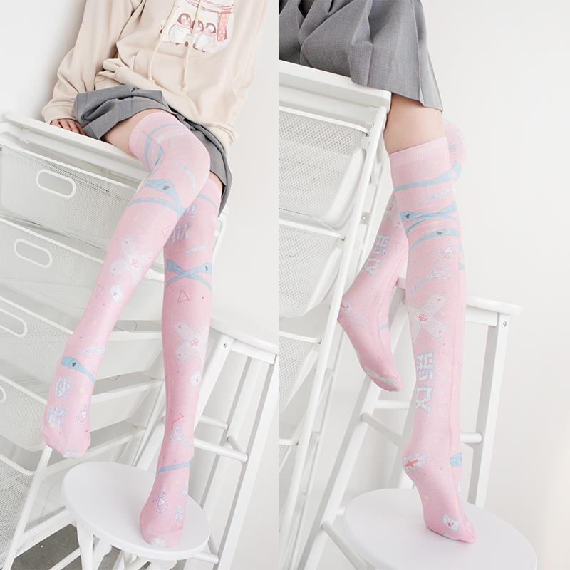 Fashion Women's Girls Nylon Stockings 2019 Newest Long Stockings Over Knee Thigh High School Girl Pink Cartoon Stocking 5S-SW06