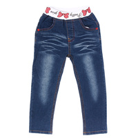 Spring Autumn Girls Jeans Pants Casual Double Heart Shape Bowknot Decoration Long Jeans 4 8 Years