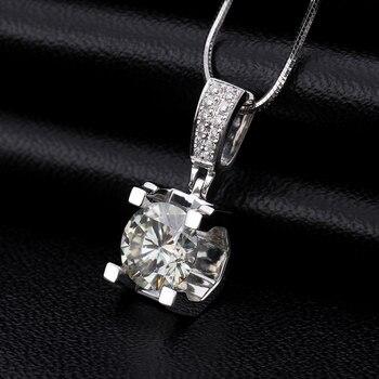 Fashion Slide Wedding Pendant 18K White Gold 1 Carat Round Shape Moissanite Diamond Necklace Gifts for Women 6