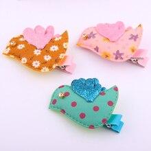 20 pcs/lot Newest design cute fabrics bird hair clips baby girls cartoon hairpins hand making crystal birds fringe clamps