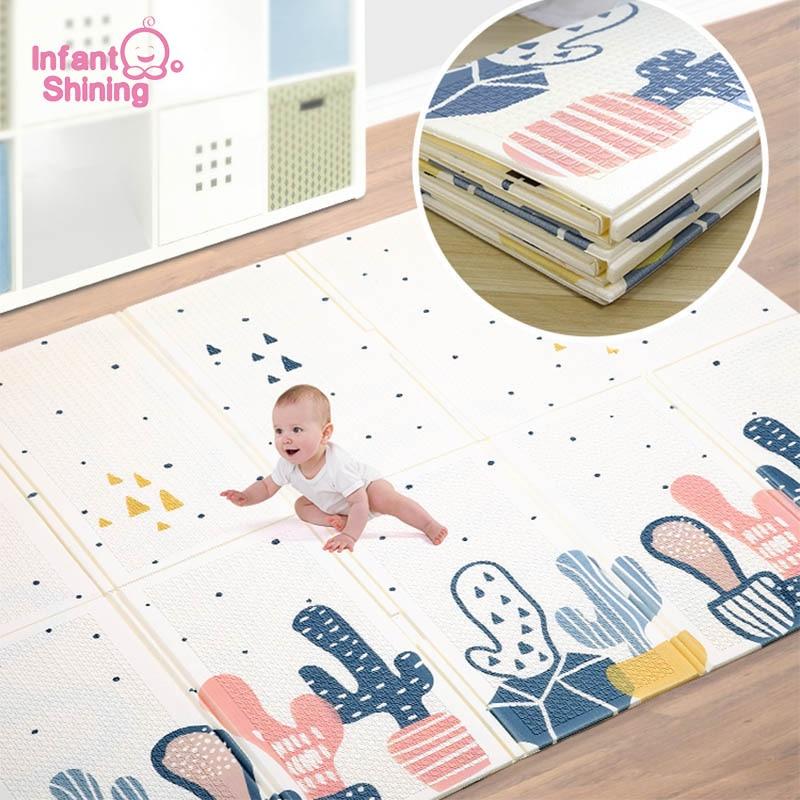 Infant Shining 180*200cm Kids Play Game Mat Cotoon Carpet Rugs Mat Cotton Crawling Blanket Floor Carpet For Baby Gift
