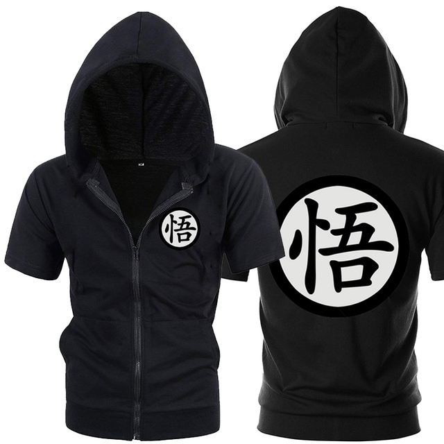 Casual Funny Print Dragon Ball Goku Hoodie Men Black Gray Cosplay Sweatshirt Fashion Short Sleeve Zipper Mens Hoodies Jackets 2