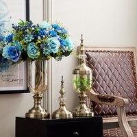 Transparent Crystal Glass Vase Simulation Flower Arranging Furnishing Articles Table TV ark Home Decoration