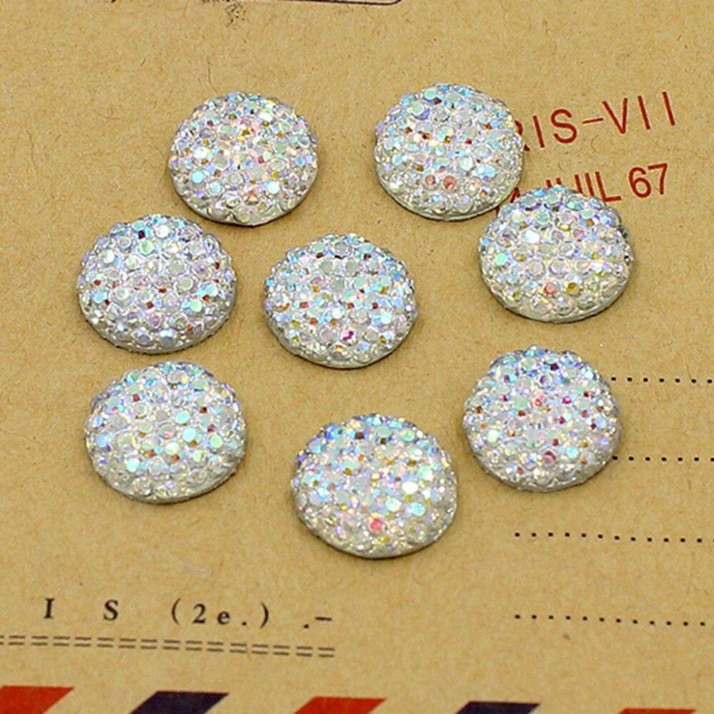 Кристалл AB 10,12 мм, 14,16 мм Flatback Смола пунктирной круглый горный хрусталь Кабошон Драгоценные камни, плоская задняя Смола горный хрусталь для DIY украшения